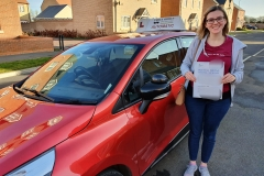 Well done to Elly on passing her driving test today in Kettering!  Stay safe!  Congratulations from Péter and the team at Three Shires Driving Centre Ltd!