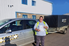 Well done to Angie on passing her Car and Trailer (B+E) driving test today on the first attempt in Peterborough!  Stay safe!  Congratulations from Péter and the Team at Three Shires Driving Centre Ltd!