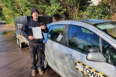 Well done to Aaron on passing his car and trailer B+E test on the first attempt today at Weedon!  Stay safe!  Congratulations from Péter and the team at Three Shires Driving Centre Ltd!