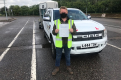 Congratulations, Joseph very well done passing your B+E towing test today. Very good standard, stay safe towing on the farm. From Neville and Three Shires Driving Centre ltd.