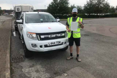 Congratulations to Alfie of Hec construction passing your B+E towing test first attempt.  Great effort! From Neville and Three Shires Driving Centre Ltd