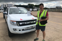 Congratulations Luke.  Passing your towing test today. Well done and good luck with your business. Neville & George Three Shires Driving Centre Ltd.